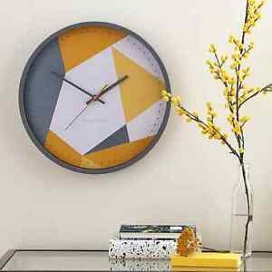 Pastel Geo Geometric Triangles Wall Clock Grey and Ochre 36cm