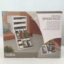 YouCopia Original SpiceStack Spice Organizer Rack Shelf Holds 18 Bottles White
