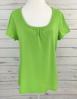 Cato Top Womens XL Green Solid Scoop Neck Cap Short Sleeve Fitted Stretch Tee