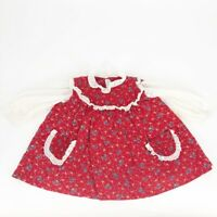 Vintage Toddler Girls Red Floral Frilly Country Dress Size 2T