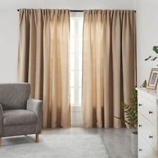 2x Room Darkening Blockout Curtains Soft Hanging Curtain Thick Fabric Layer Buff