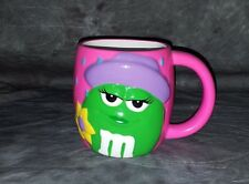 M&M Candy Green Pink Ceramic Rainy Day  Coffee Mug