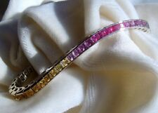 "Natural Sapphire Tennis Bracelet Rainbow Multi-color 14K WG 9.36 Ct 7"" USA Made"