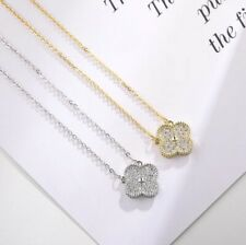 Pave Cubic Zirconia Flower Lucky Clover Silver SP/Gold GP Pendant Necklace