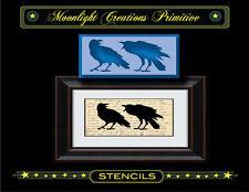 Primitive Stencil~Crow Ruckus-American Crows Ravens Black Birds Bickering