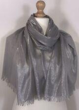Sparkly Grey Scarf Pashmina Shawl Metallic Shimmery Wedding Oversized Long NEW