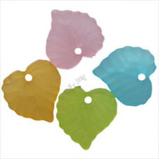 200pcs ON SALE Mixed Colorful Heart Leaf Charms Acrylic Spacer Beads Findings J