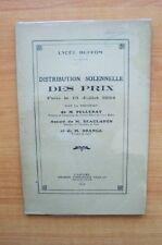 LYCEE BUFFON DISTRIBUTION SOLENNELLE DES PRIX FAITE LE 13 JUILLET 1934