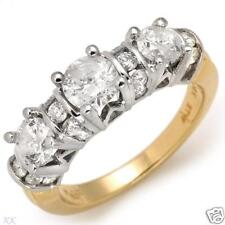 2.00ctw GENUINE THREE STONE DIAMOND RING - 14K