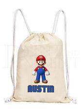 Personalised Boys Mario (#2) Drawstring Canvas Gym/ PE Bag