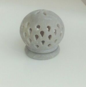 Hand Carved Small Soapstone Candle Holder.Intricate designs, Globe Shape.