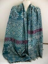 Tuch Schal Stola Umhang Ethno Muster petrol 178 x70cm ganzjährig Neu