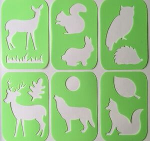 Kids Stencils Forest Animal- Flexible Plastic Washable Painting Drawing Craft