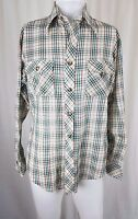70s Vintage Sears Kings Road LS Shirt Plaid Rockabilly Western PermaPrest Mens L