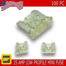 100 Pack Low Profile Mini Blade Fuse 25 Amp Marine SUV Truck Auto RV Automotive