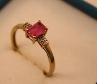 100% Genuine 9ct Solid Yellow Gold Ring with A  Ruby and tiny Diamonds