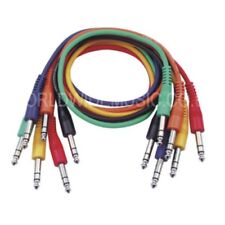 """A Pack of 6 Balanced 1/4"""" (6.35mm) Jack Patch Leads / Patch cables 30cm long"""