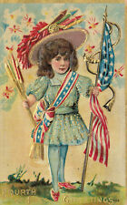 Postcard-4th of July Greetings-Girl holding American flag & fireworks, Embossed