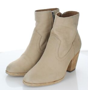 G50 $298 Women's Size 7.5 M Frye Essa Leather Booties In Taupe