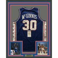 FRAMED Autographed/Signed GEORGE MCGINNIS 33x42 Philadelphia Blue Jersey JSA COA