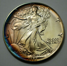1987 UNC American Eagle Dollar 1 Oz .999 Fine Silver Coin Monster Natural Toning
