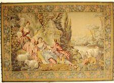 2430* Tapisserie faite main scène romantique , chevres  171 cm x 120 cm