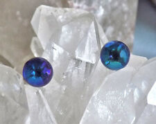 Crystal Bermuda Blue Stud Earrings 10mm Smooth Ball, Swarovski Rhinestones