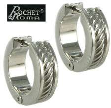 Rochet Hoop Earrings Men's Stainless Steel Heavy Cable Design