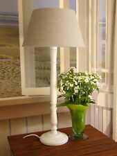 Tischlampe Stehlampe H 64 cm Holz creme weiss, Schirm beige Leinen Landhaus NEU