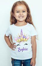 Unicorn Easter Girl Tee Top Personalized Girl Kids T-Shirt Rainbow Unicorn Bunny