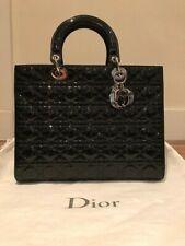 Lady Dior borsa grande in Vernice Nera Argento Hardware