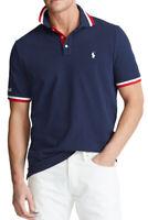 NWT Polo Ralph Lauren Men's Sz L Rugby Mesh Navy USA Custom Slim Fit Polo Shirt