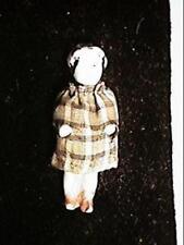 "Antique 1 3/4"" Frozen Charlotte Doll with Silk Dress"