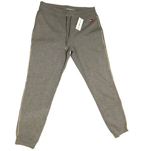 Tommy Hilfiger Joggers Track Pant Womens Sz L Large Gray Fleece Gold Striping