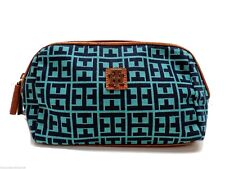 Tommy Hilfiger Small Dome Cosmetic Bag Case Green Navy Logo Zip Pouch New!