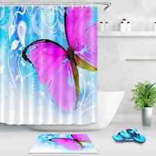 Pink Butterfly Waterproof Bath Polyester Shower Curtain Liner Water Resistant
