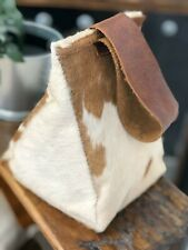 Cow hide and leather door brown stop home decor- Hand Made in Cambridgeshire.
