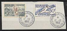 FRANCE JO HELSINKI N° 961 & 962 CACHET CONGRES DU PARLEMENT VERSAILLES 17-12-53