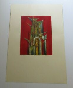 FINEST JOSEPH MUGNAINI ETCHING LARGE ABSTRACT EXPRESSIONISM RED TOWER MODERNISM