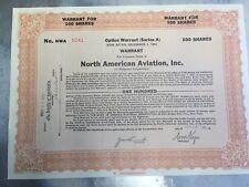 Vintage 1930 Option Warrant North American Aviation Inc