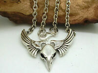Águila Pájaro Collar Plata de Ley 925 Vogelschädel Colgante Cadena 52 Cm