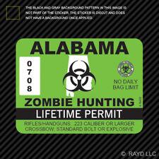 Alabama Zombie Hunting Permit Sticker Die Cut Decal Outbreak Response Team