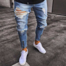 Men's Ripped Jeans Skinny Slim Fit Denim Destroyed Frayed Pants Zipper Design US