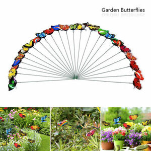 50Pcs Colourful Garden Butterfly Butterflies Decoration Ornaments Stakes Patio