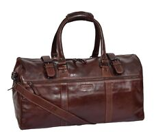 Brown Leather Holdall Luxury Travel Duffle Bag Gym Weekend Cabin Sports Bag NEW