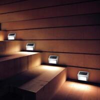 3 LED Led Solar Powered Wall Mount Night Light Yard Pathway Stair Garden Lamp