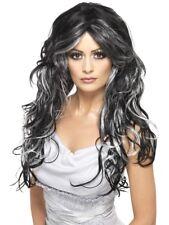 Gothic Bride Wig Ladies Halloween Black & Grey Fancy Dress Wig New