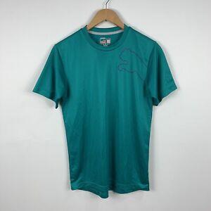 Puma Mens Shirt Size Small Green Aqua Short Sleeve Slim Fit Good Condition