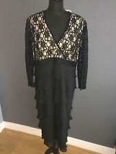 NWT BLACK LACE BODICE CHIFFON SKIRT COCKTAIL DRESS BY VEROMIA SZ 18 RRP £289
