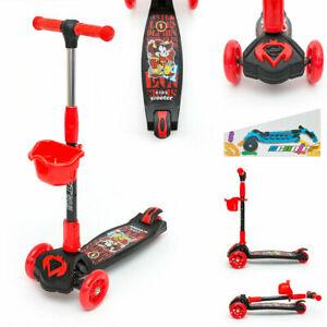 Kids Push Scooter LED Light Up 3 4 Wheel Kick Folding Adjustable Boy Girl